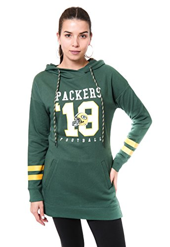 Icer Brands NFL Green Bay Packers Women's Tunic Hoodie Pullover Sweatshirt Terry, Large, Green