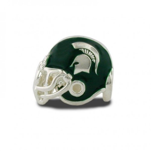 Michigan State Charms   Michigan State Spartan Football Helmet Charm with Green and Clear Crystal Charms   Officially Licensed Michigan State University Jewelry   MSU Jewelry   Stainless Steel by Stone Armory (Image #2)
