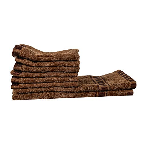 Eurospa Set of 8 Cotton Hand & Face Towel Set Brown