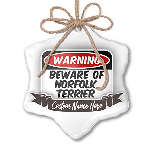 (NEONBLOND Create Your Ornament Beware of The Norfolk Terrier Dog from Great Britain Personalized)