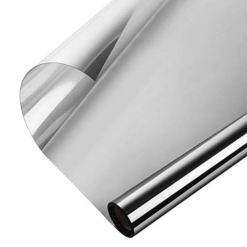 (Window Heat Control Film Kit Anti-UV One Way Mirror Film Privacy Static Glass Films Non-Adhesive Window Tint for Home and Office, 35.4 inch x 32.8 Feet (Silver))