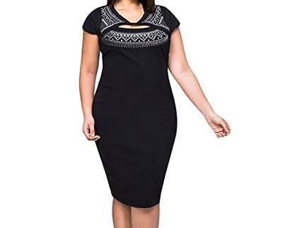 YFFaye Women's Curvaceous Cutout Foil Print Bodycon Dress