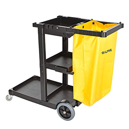 Alpine Industries Traditional Janitorial Cleaning Cart with 3 Shelves - Commercial Rolling Janitor Caddy with Vinyl Bag - Custodial Carts for Housekeeping Business from Alpine Industries
