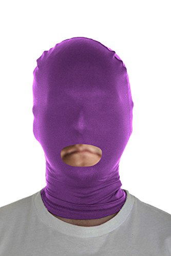 Marvoll Lycra Spandex Mouth Hole Zentai Mask Hoods Halloween Costumes (Adults, Purple) (Villain Halloween Costumes)