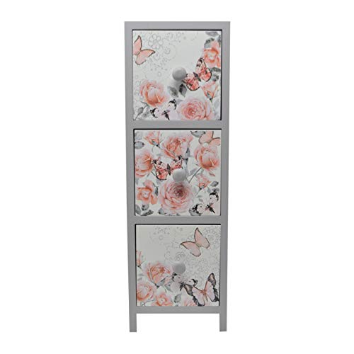 gbHome GH-6742 Decorative 3 Drawer Wooden Storage Box with Floral Art, Jewelry & Memento Case, Wood Holder for Teabags Pins Coins and Miscellaneous Trinket Container, Rustic Antique Distressed Look