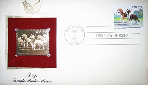 Terrier Postage Stamp - 1984 DOGS BEAGLE, BOSTON TERRIER 22kt Gold GOLDEN Cover Replica Stamp