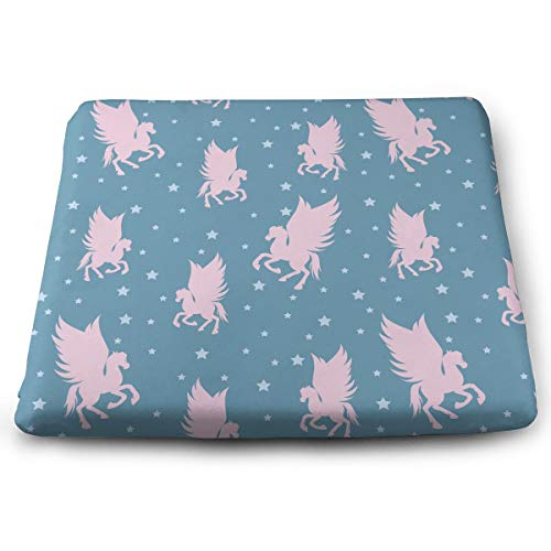 HzLyll Perfect Outdoor/Indoor Pink Silhouettes of Flying Pegasus Square Cushion-Home Fashions 13.7