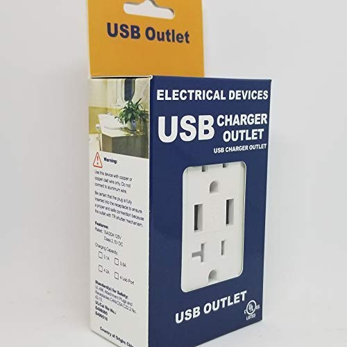 BAUS White Single Gang Duplex 125V 20A NEMA 5-20R Outlets with 3.6A USB charging ports and White Cover Plate UL/Cul Listed (1) ()