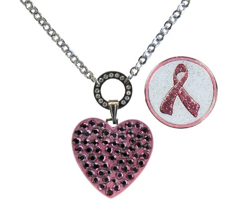 Magnetic Ballmarker Necklace with Pink Heart Adorned with Genuine Swarovski Crystals and Glitzy Pink Ribbon