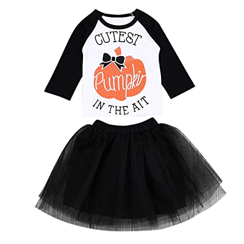 Toddler Baby Girl Long Sleeve Pumpkin T-Shirt + Tulle Skirt Halloween Clothes Set (12-24 M, White) by Treafor