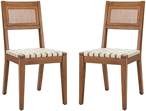 Amazon Brand Rivet Erikson Vegan Leather Woven Dining Chair