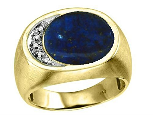 (Mens Diamond & Lapis Ring in Sterling Silver or Yellow Gold Plated Silver)
