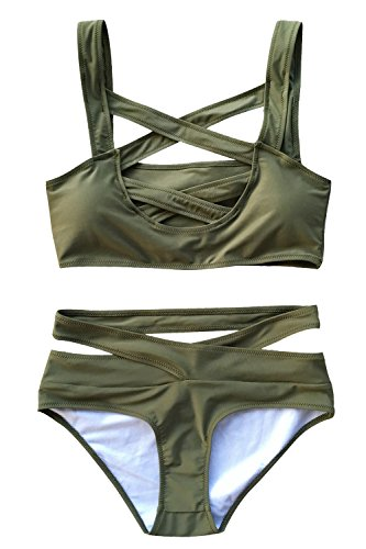 Cupshe Fashion Women's Front Cross Olive Green Padding Bikini Set (L)