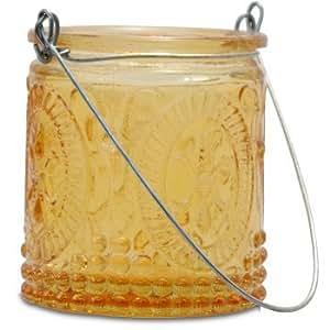 Northern Lights Candles Fleur de Lis Hanging Tea Light Holder, Orange