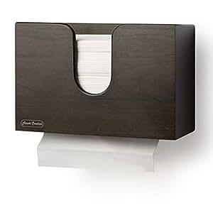 eBun Paper Towel Dispenser Wall Mount or Countertop for Bathroom Decor, Espresso Wooden Tissue Box Holder for Napkin, Serviette and Paper Hand Towels