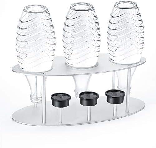 Abtropfhalter /& Flaschenhalter f/ür 5 Sodastream Flaschen Stern Edelstahl//Bambus
