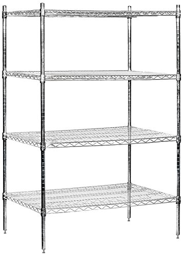 Salsbury Industries Stationary Wire Shelving Unit, 36-Inch Wide by 63-Inch High by 24-Inch Deep, Chrome