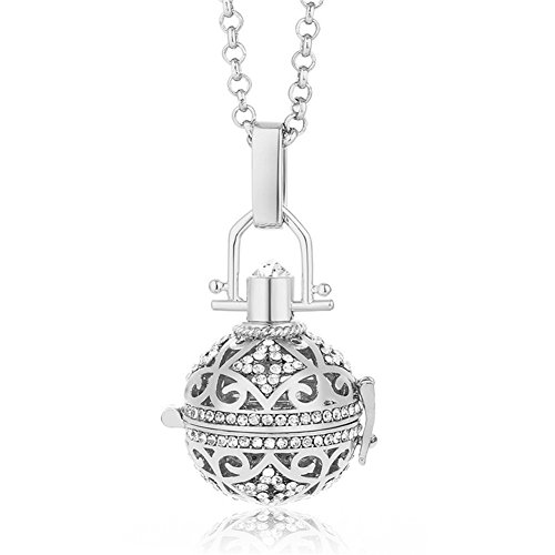 Vintage Crystal Ball Filigree Ethnic Tribal Aromatherapy Essential Oil Diffuser Charms Pendant Perfume Oil Locket Necklace (Filigree Perfume)