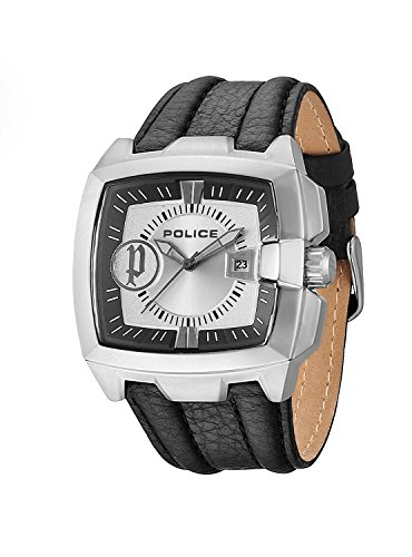 Police 13929jsb02 45mm Stainless Steel Case Black Leather Mineral Men's Watch