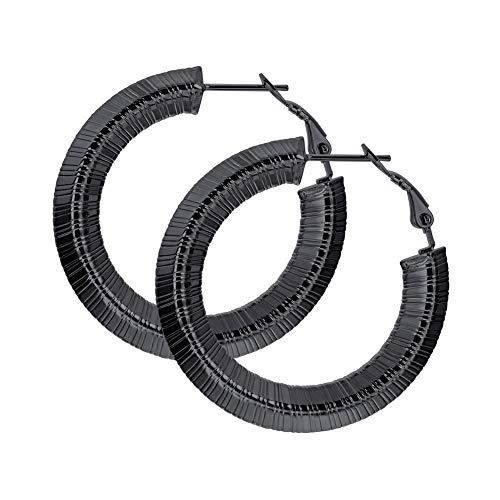 Pattern Bamboo Earrings (Chic 80 90's Party Jewelry Black Metal Plated Stainless Steel Hollow Tube Stripe Grain Hoop Earrings 25mm)