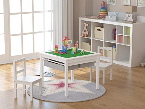 UTEX 2-in-1 Kids Multi Activity Table and 2 Chairs Set with Storage - Chairs Table 1 4