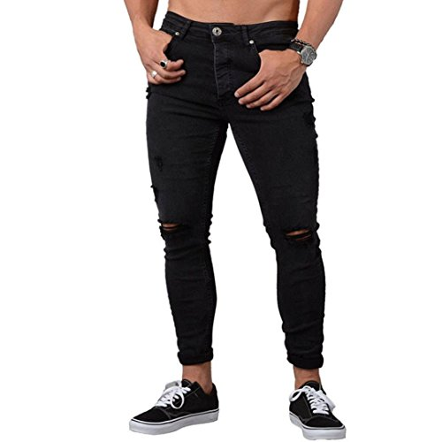 Realdo Mens Slim Jeans, Casual Daily Ripped Hole Skinny Cotton Denim Long Trousers(Black,X-Large)