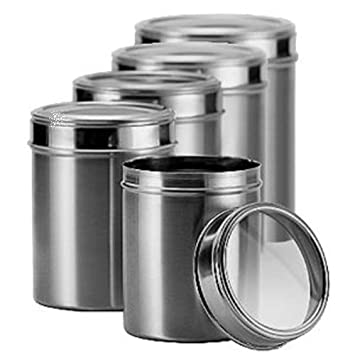 Dynore Stainless Steel Kitchen Storage Canisters With See Through Lid   Set  Of 5   Size