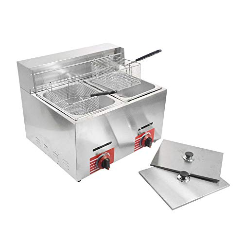 Commercial Stainless Steel Countertop Propane Gas Fryer Deep Fryer with 10L2 Basket