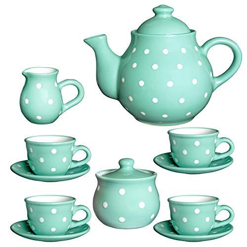 City to Cottage Handmade Teal Blue and White Polka Dot Ceramic Teapot Set, Large 1,7l/60oz/4-6 Cup Teapot, Milk Jug, Sugar Bowl, Four Cups & Saucers Tea Set Pottery Housewarming Gift - Dot Polka Ceramic Pot