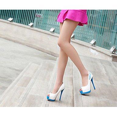 LFNLYX Las mujeres sandalias de verano Confort Casual PU Stiletto talón de raso azul Flores Rosas caminando Fuchsia