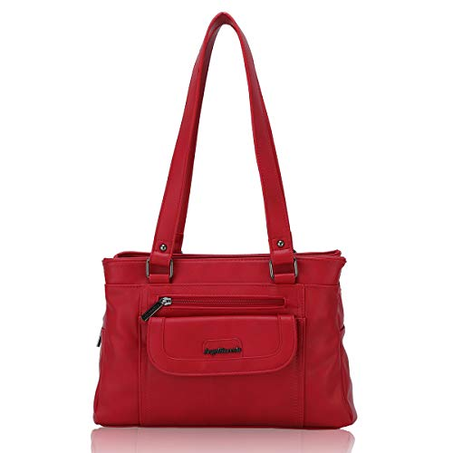 Angel Barcelo Women Soft Leather Handbags Satchels Shoulder Bags Casual Purses Top-Handle Handbag for Girl Red