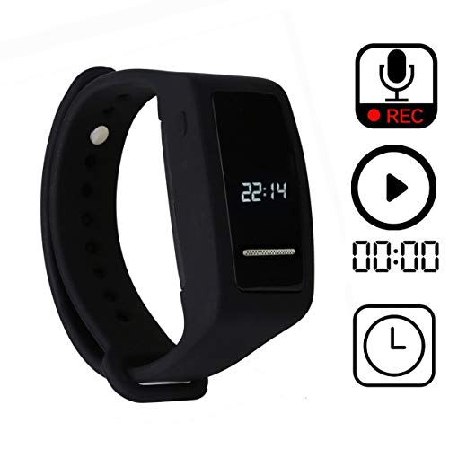 Bracelet Digital Voice Recorder,eoqo Wristband 8GB Voice Activated,Noise Cancelling Audio Recorder for Lectures,Meetings,Class,Interviews by eoqo