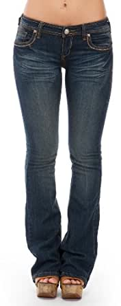 (EP1394-RCK-7) Dollhouse Whiskered Button-Flap Flare Jeans in Rock Size: 7