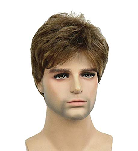 TopWigy Men Brown Wigs Male Short Straight Hair Synthetic Full Wigs for Guy Natural Looking Cosplay Anime Party Hair 6 inches (Brown 6'')