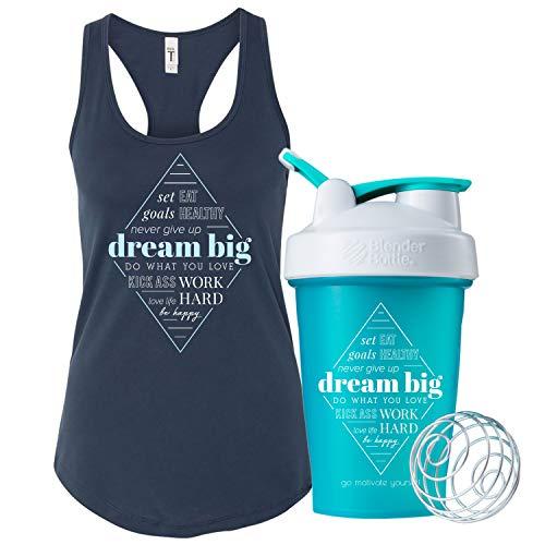 - GOMOYO Women's Motivational Dream Big Indigo Racerback Workout Tank Top (Large, Tank & Bottle - Indigo)