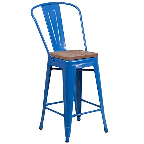Taylor Logan 24 High Blue Metal Counter Height Stool with Back and Wood Seat