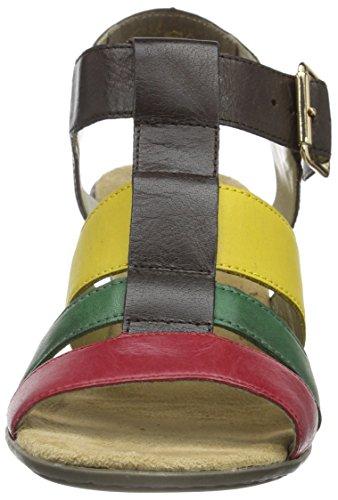 Rieker 67698, Sandalias Con Cuña Para Mujer Marrón (rosso/peppermint/mokka/yellow / 33)