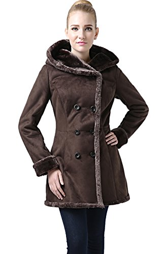 BGSD Women's Cindy Hooded Faux Shearling Coat - Chocolate L