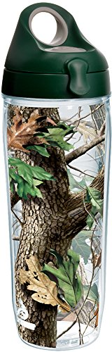 (Tervis 1237841 Realtree - Camo Hardwoods Knockout Insulated Tumbler with Wrap and Hunter Green with Gray Lid, 24oz Water Bottle, Clear)