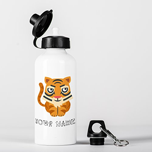 Personalised Tiger Cute Animal Zoo Children Customizable Aluminium Water Bottle by Micro Gorilla