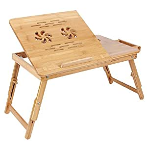 SONGMICS 100% Bamboo Adjustable Laptop Desk with USB Fan Foldable Breakfast Serving Bed Tray w' Tilting Top/Drawer ULLD01F