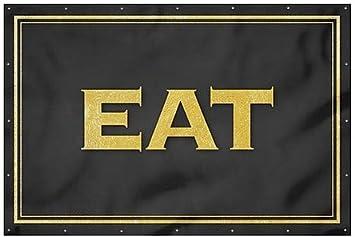 12x8 Eat Classic Gold Wind-Resistant Outdoor Mesh Vinyl Banner CGSignLab