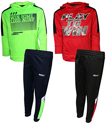 Hind Boys (4-Piece) Performance T-Shirt Active Pant Sets (2 Full Sets) (Red/Neon Lime, 5/6)' -