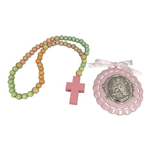 Non Toxic Wooden Kiddie Rosary with 5 Different Colors 21-inch Boxed with Crib Medal, Nice Baby Christening or Nursery Gift (Girls/Pink) Color Wooden Rosary Wood