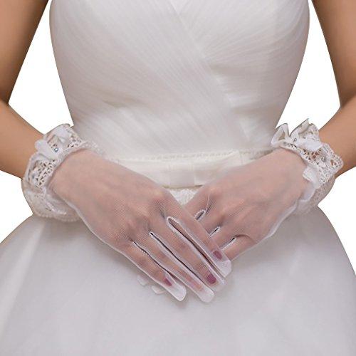 Beaded Sheer Gloves (JoyVany Vintage Sheer Wedding Gloves Lace Trim Beaded Gloves for Wedding Party White)