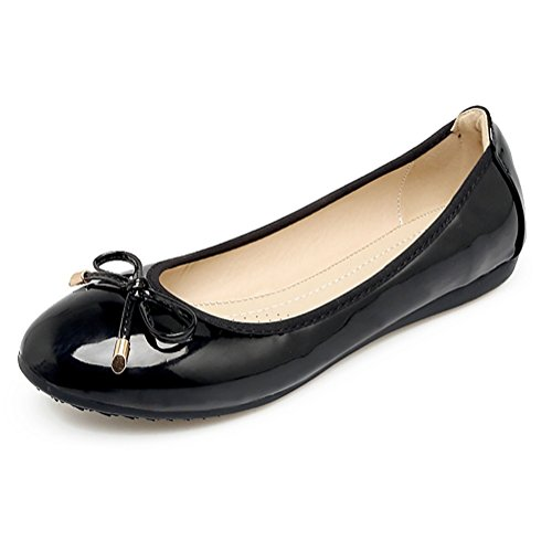 Meeshine Womens Foldable Bow Slip On Ballet Flats Dress Shoes(8 B(M) US,Black)