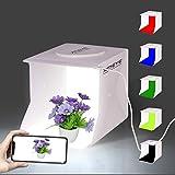 Mini Portable Photo Studio Shooting Tent, JHS-TECH Small Foldable LED Light Box Softbox Kit with 6 Colors Backdrops for Photography, Built-in 2pcs 6000K Led Light Stripe