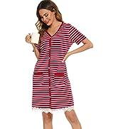 Vlazom Women's Nightgowns Soft Cotton Stripe Nightdress 3/4 Sleeve Night Shirt Sleepwear with Poc...