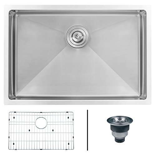 28 Single (Ruvati 28-inch Undermount 16 Gauge Tight Radius Stainless Steel Kitchen Sink Single Bowl - RVH7250)