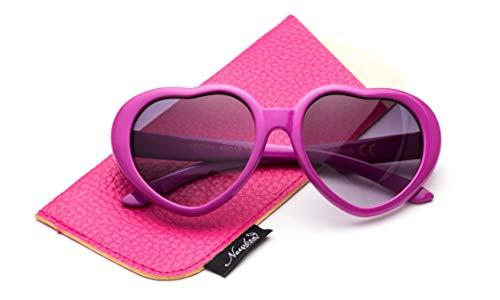 Newbee Fashion - Kyra Kids Girls Fashion Heart Shaped Sunglasses Vintage Cute Heart Sunglasses for Girls UV Protection (Hot Pink)